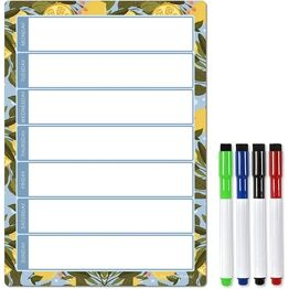 Magnetic Weekly Planner and Organiser - Portrait - LEMON GARDEN