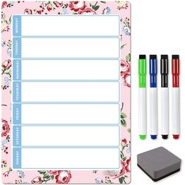 Magnetic Weekly Planner and Organiser - Portrait - FLORAL PINK