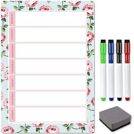 Magnetic Weekly Planner and Organiser - Portrait - FLORAL MINT