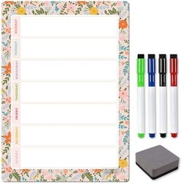 Magnetic Weekly Planner and Organiser - Portrait - FLORAL PEACH