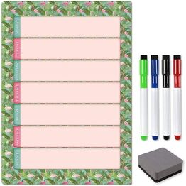 Magnetic Weekly Planner and Organiser - Portrait - FLAMINGO