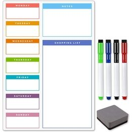 Magnetic Weekly Meal Planner and Menu - MULTI-COLOURED