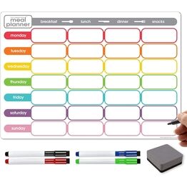 Magnetic Weekly Meal Planner and Menu - MULTI-COLOURED - LANDSCAPE