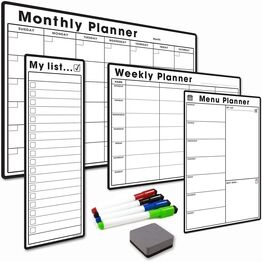 4 Pack - A3 Monthly Calendar, A4 Weekly Planner, A4 Menu Planner, Slim A3 My List - BUNDLE ONE