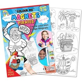 Children's Colour-In Magnet Craft Set - Pirates