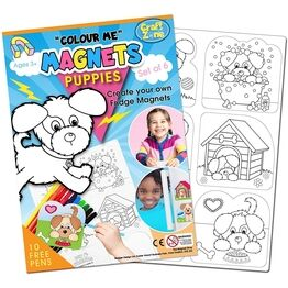 Children's Colour-In Magnet Craft Set - Puppies
