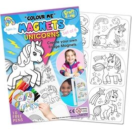 Children's Colour-In Magnet Craft Set - Unicorns