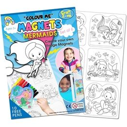 Children's Colour-In Magnet Craft Set - Mermaids