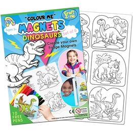Children's Colour-In Magnet Craft Set - Dinosaurs
