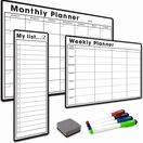 3 Pack - A3 Monthly Calendar, A4 Weekly Planner, Slim A3 My List - BUNDLE ONE (VARIOUS COLOURS AVAILABLE) additional 1