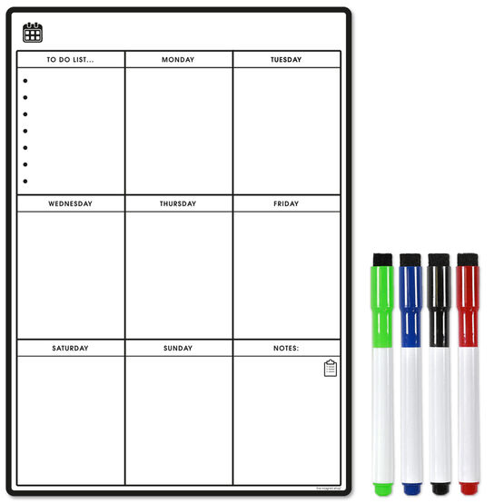 Magnetic Weekly Planner and Organiser - Portrait - BLANK