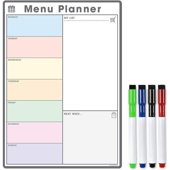 Magnetic Weekly Meal Planner and Menu (VARIOUS COLOURS AVAILABLE)